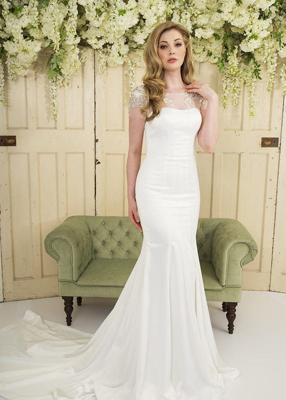 Grace Philips Original Crystal Ivory Soft Slipper Satin Wedding Dress With Illusion Neckline And Cap Sleeves With Beaded Lace Detail