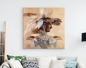 Framed Canvas Print Medicine Woman, Native American, Eagle, Wall Art