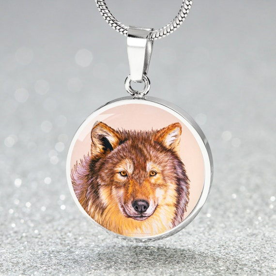UK WOLF PENDANT NECKLACE Chain Glass Silver Jewellery Gift Idea Howling Werewolf