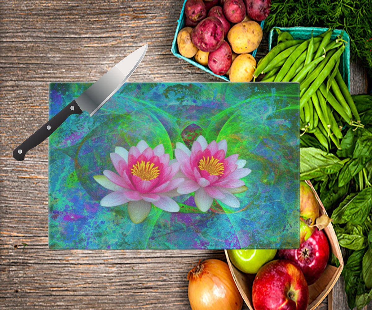 Glass Cutting Board Makes An Awesome Gift For Lotus Flower Etsy