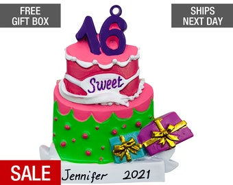 Sweet 16 Christmas Ornament Personalized 2021, HAppy Birthday