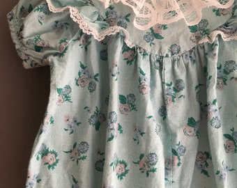 Vintage floral and lace bubble romper with flutter sleeves by Thomas