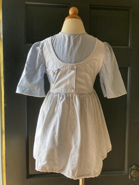Vintage Light Denim Apron Dress   3/4t - image 1