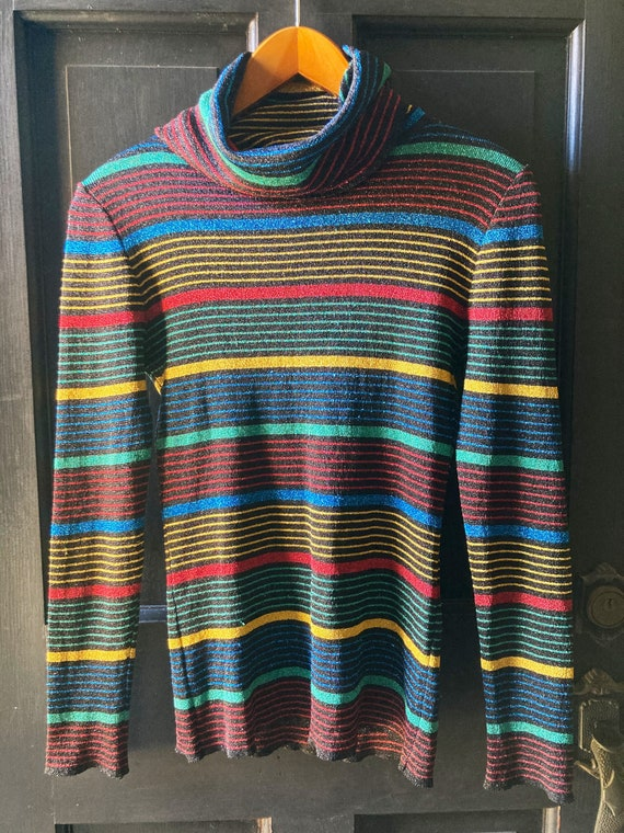 Vintage Rainbow Metallic Striped Top | Medium