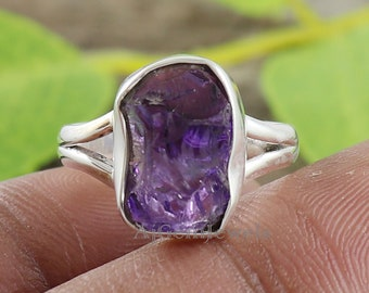 Handmade Ring Natural Amethyst Rough Gemstones Brass Ring Solid Brass /& Gold Plated Jewelry Handmade Ring Jewelry Solid Brass Ring SJ-06