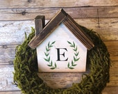 Wooden House Personalized Sign Farmhouse Decor Wreath