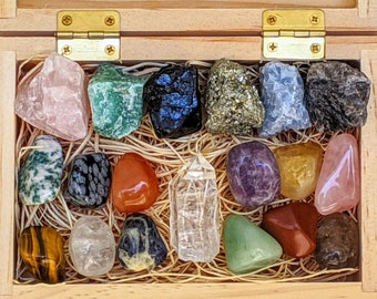 19 pcs Crystal Kit-Raw Crystal Set-Healing Crystal Set-Crystal Discovery Set-Bulk Crystals-Rose Quartz-Citrine-Clear Quartz-Black Tourmaline