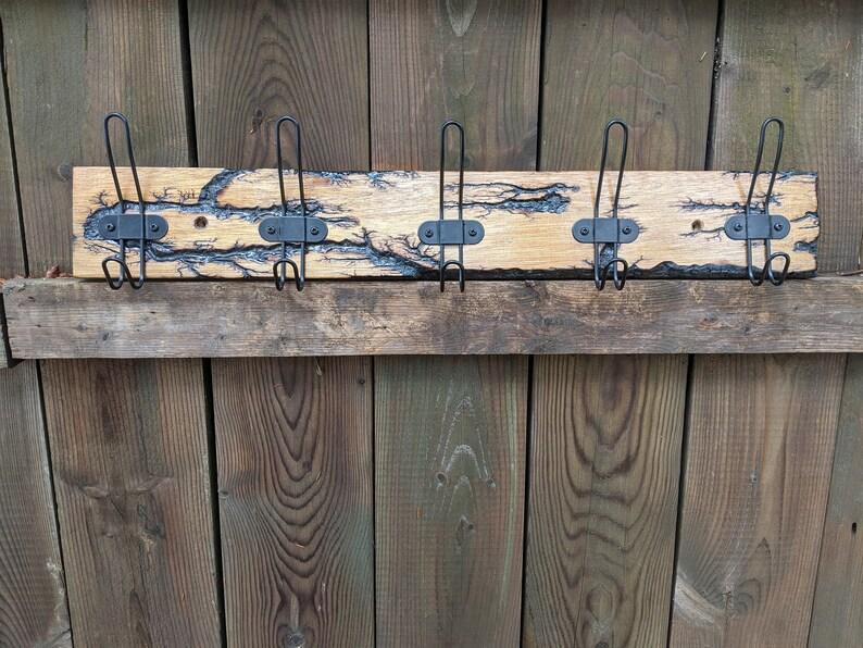 5 Black Wire Hooks 24 x 3.5 Electrocuted Mahogany Coat Rack