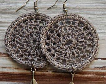 Boho Crochet Earrings, Dreamcatcher Earrings, Jewelry, Bohemian Earrings, Crochet Earrings