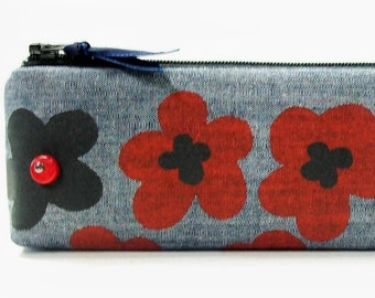 Screen Printed Zippered Pencil and Accessory Case