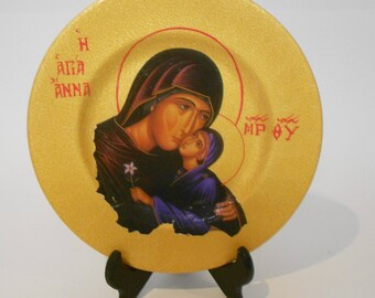 """Byzantine icon-copy, """"St. Anna and infant Holy Mother"""", handmade, mixed media on porcelain, special gift, wedding gift, baptismal gift"""