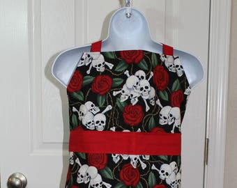 Child's Skull and Rose Apron