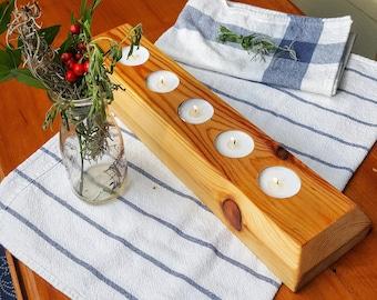 Chamfered Edge Wood-Plank Candle Holder