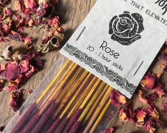 Rose Holy Smoke All-Natural Honey Resin Ceremonial Incense Sticks floral GREEN packaging