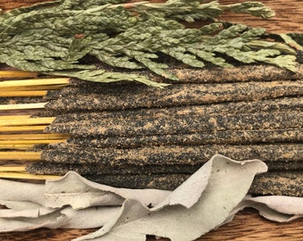 Cedar & White Sage Holy Smoke All-Natural Honey Resin Incense Sticks Cleansing Smudge GREEN packaging