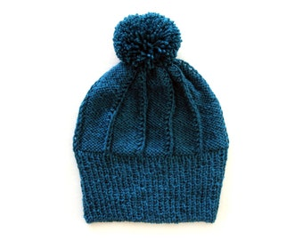 Handmade | Woman | Teal Winter Knitted Beanie Hat with Pom Pom for Woman, by Coastland Streetwear