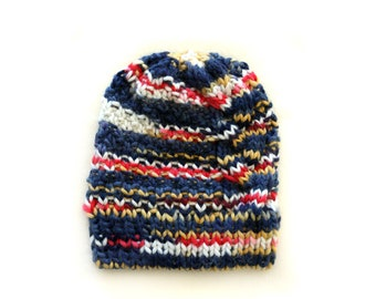 Handmade | Woman | Blue and Yellow Winter Hand Knit Slouchy Hat for Women, by Coastland Streetwear