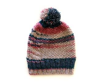 Handmade | Woman | Pink and Teal Hand Knit Winter Pom Pom Beanie for Women, by Coastland Streetwear
