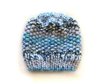 Handmade | Woman | Light Blue and Grey Womens Knitted Hat, by Coastland Streetwear