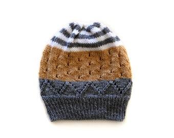 Handmade | Woman | Grey and Beige Winter Knit Beret for Women, by Coastland Streetwear