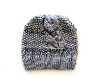 Handmade | Woman | Beige and Blue Knitted Slouchy Beanie for Women, by Coastland Streetwear