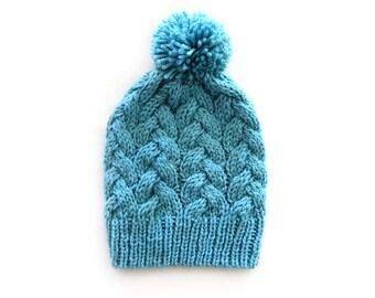 Handmade | Woman | Blue Winter Womens Pom Pom Knitted Hat, by Coastland Streetwear