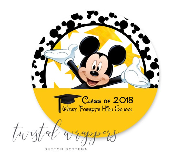 Mickey Mouse Graduation andor Celebration 3 Pinback Button or Magnet Customized