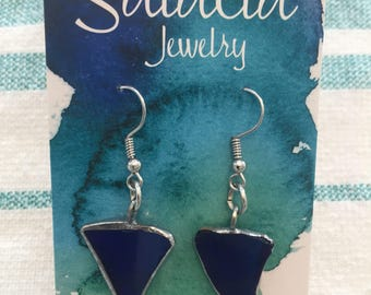Stained glass dangle earrings royal blue