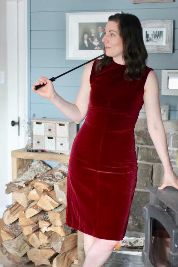 1970s  Burgundy Velour Dress- excellent condition