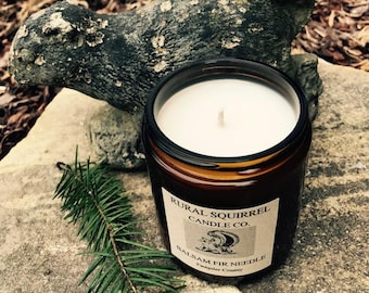 Balsam Fir Needle Soy Candle Amber Jar 8OZ