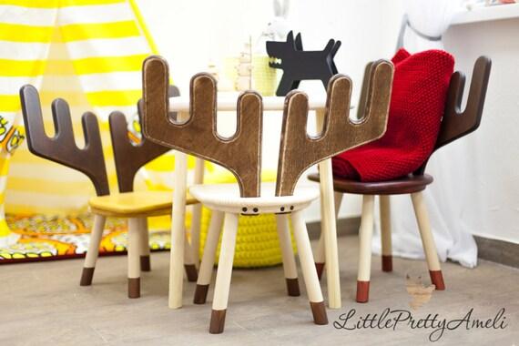 Kids chair-Wooden chair-Kids bedroom furniture-Kids furniture-Children\'s  chair-Children furniture-Wooden Elk chair-Elk-Easter gift-Easter