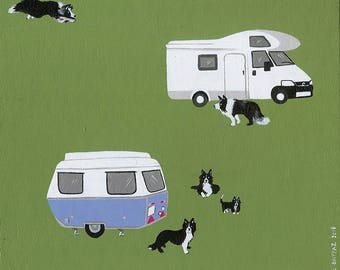 border collie & caravan - miniature painting