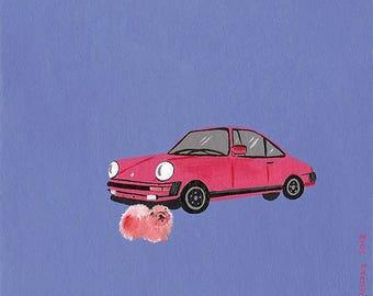 Porsche & Chow chow - acrylic miniature painting