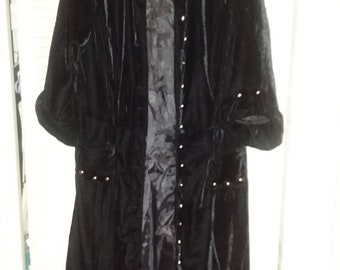 Steampunk Long Black Velvet Coat