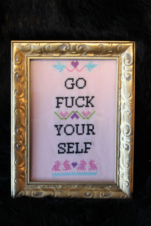 Go F Yourself in frame Cross Stitch funny cross stitch | Etsy