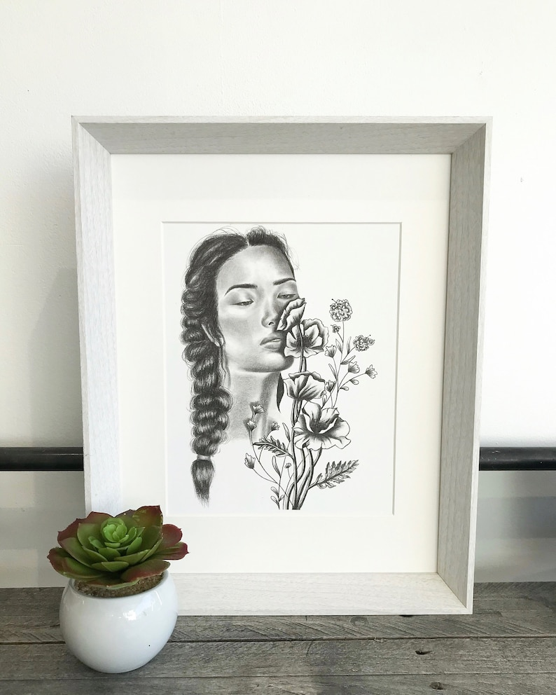 Flower girl original illustration pencil drawing female portrait black and white drawing wall art home decor female artwork floral