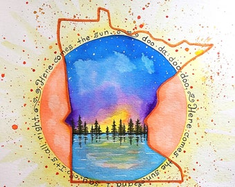 "Minnesota PRINT -""Here comes the sun"" Beatles song lyrics"