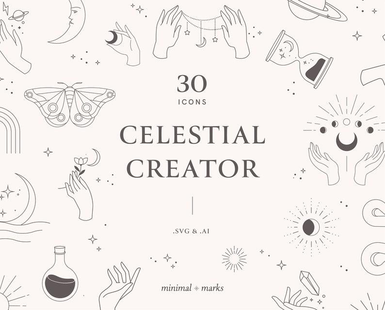 Celestial Vector Icons Digital Download Cricut Illustrator image 0