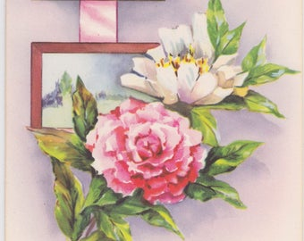 Vintage 1940s note card with flowers -- an unused Handi-Note from Artistic Cards