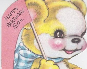 """1950s vintage """"Son"""" birthday card featuring teddy bear"""