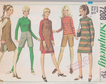 Vintage 1960s jumper, blouse, and shorts pattern -- Simplicity 7208, Junior size 13