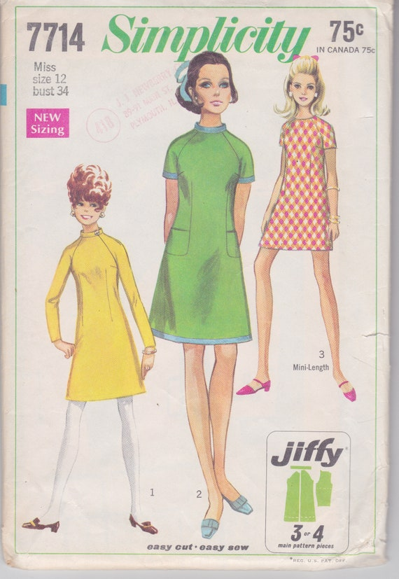 Vintage 1968 Simplicity pattern for misses A line mini dress with long or short sleeves