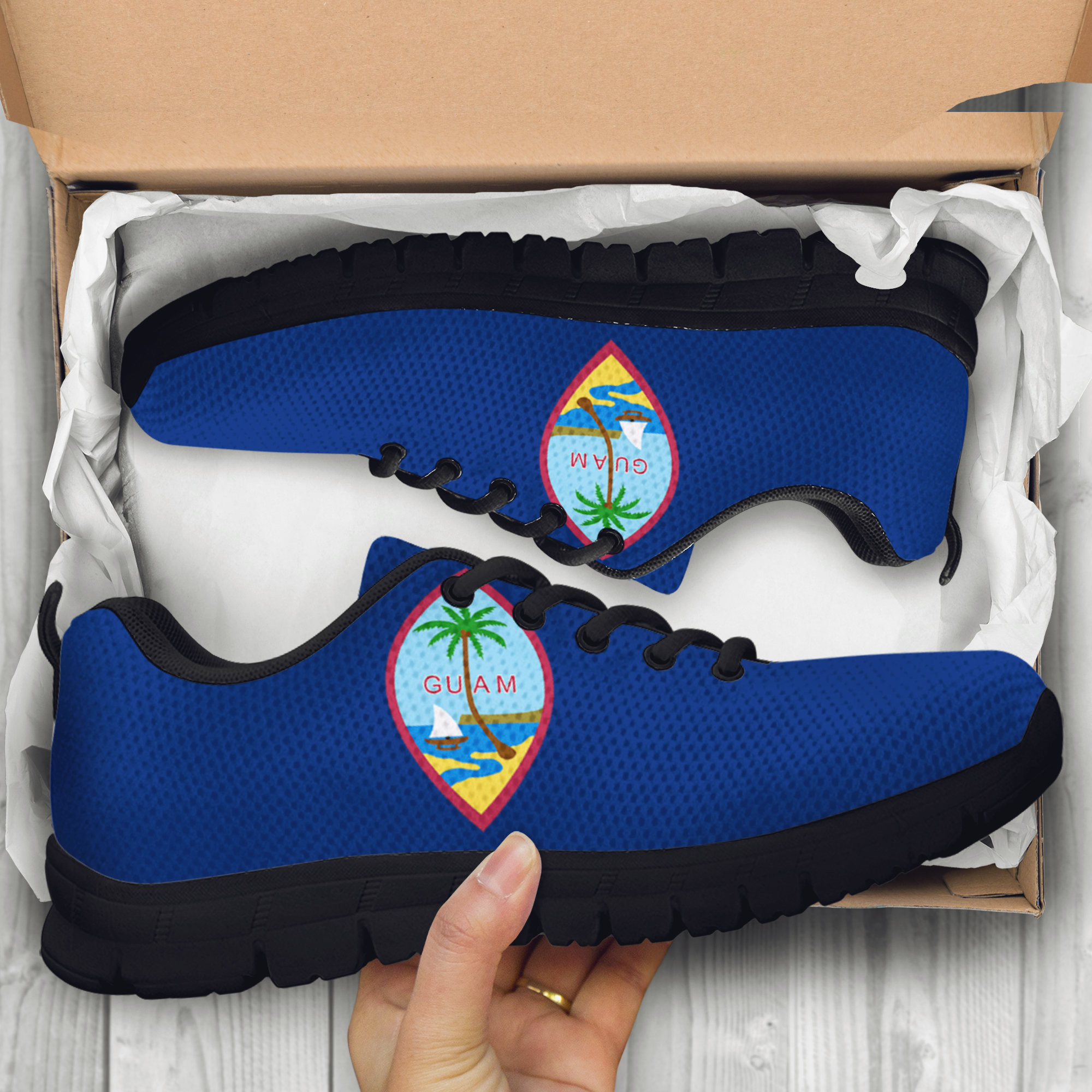 Guam Custom Black Shoes/Sneakers/Trainers - Ladies/Men's/Kids Sizes, Guam Flag, Guam Guam Seal, Guam Designs, Guam Flag, Souvenir, Custom Shoes, Gift 2154d7
