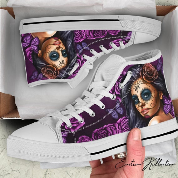 142c173a2ad2 Calavera Sugar Skull High Top Canvas Shoes Womens Mens Sizes