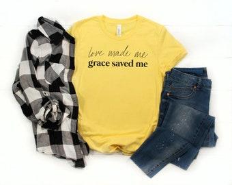 Love + Grace Christian T-shirt | Grace Tshirt | Christian Gift | Christian Apparel