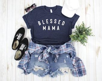 Blessed Mama Nana Mimi Navy Tshirt | Mother's Day | Mom Gift | Christian Mom Shirt
