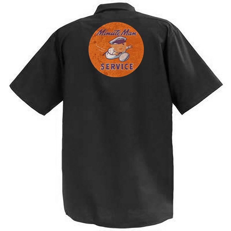 Short Sleeve Graphic Shop Work Shirt Minute Man Service