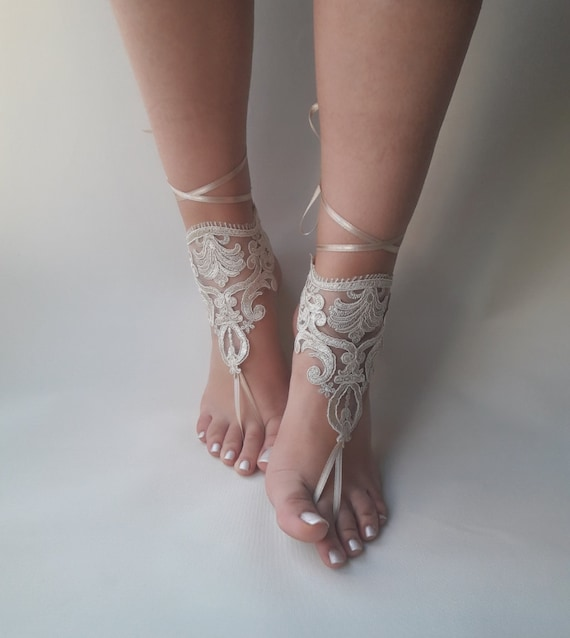 cd31f7e771846 Champagne gold barefoot sandals Lace sandals Wedding
