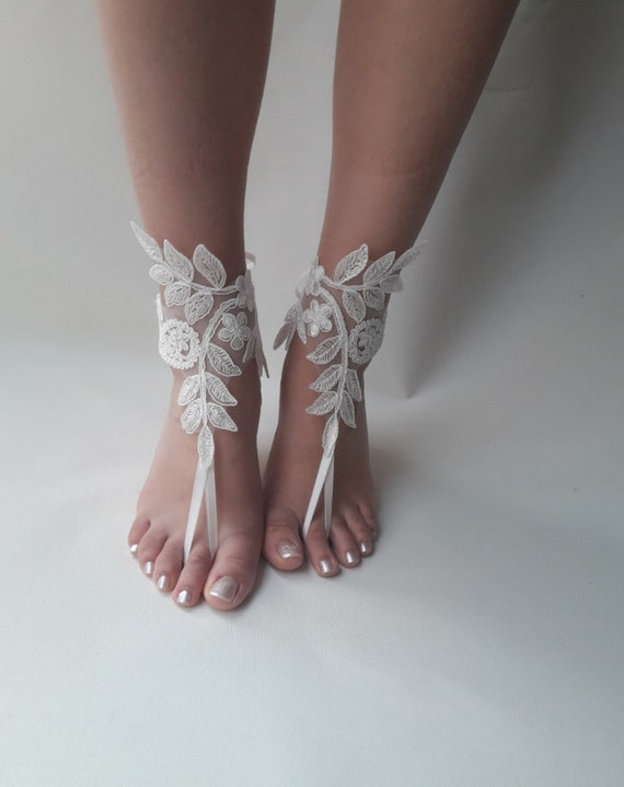 cdd218e2d10d14 ... Lace barefoot sandals Bridal shoes Ivory barefoot sandals Etsy later  1c271 18077 ...