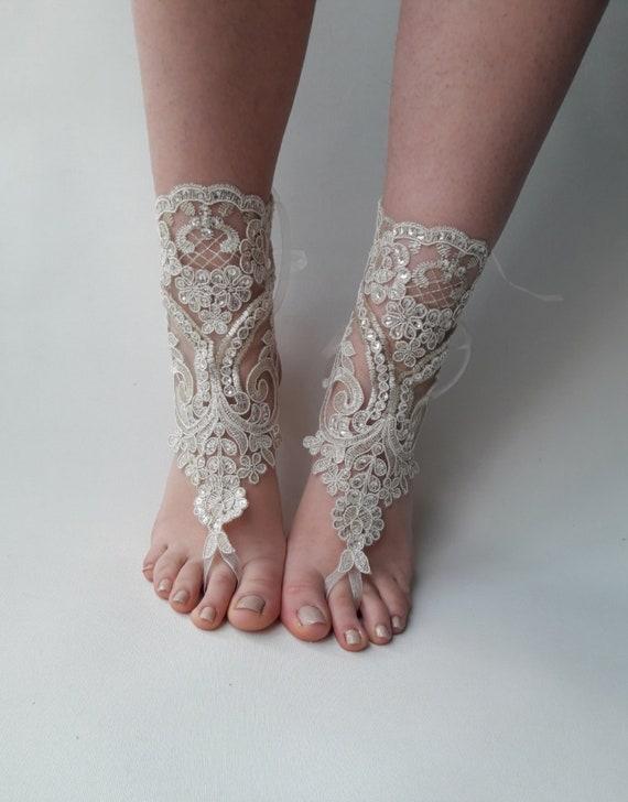 6cb0833d253e2 Champagne Gold barefoot sandals Bridal shoes Lace sandals